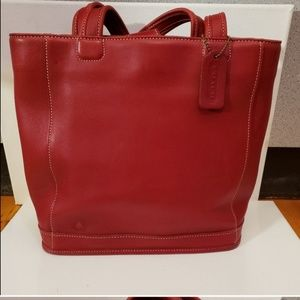 Coach Red Leather tote style bag